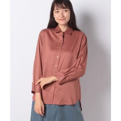 Petit Honfleur バックスリットチュニックシャツ(ブラウン)【返品不可商品】