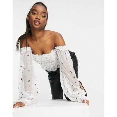 レースアンドビーズ レディース カットソー トップス Lace & Beads Exclusive off shoulder ruffle top in glitter polka dot White speckle