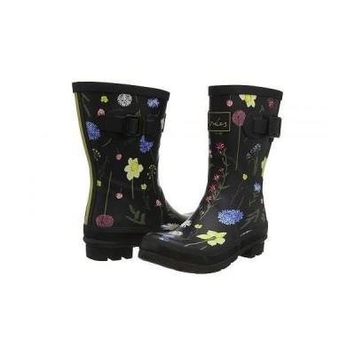 Joules レディース 女性用 シューズ 靴 ブーツ レインブーツ Molly Welly - Black Floral