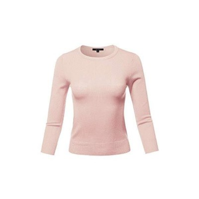Basic Casual Colorful 3/4 Sleeve Knit Pullover Sweator Top Blush S並行輸入品 送料無