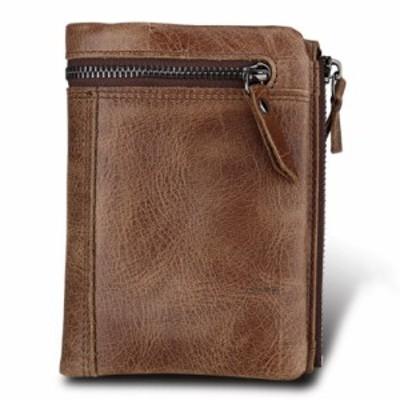 二つ折り 財布 メンズ 本革 高級 牛革 使用 大容量 ヴィンテージ加工 多機能 二つ折り財布 大型ファスナー付き小銭入 ポケッ