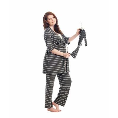 エベリーグレイ ナイトウェア アンダーウェア レディース Analise Maternity/Nursing Mommy & Me Five-Piece PJ Set Charcoal