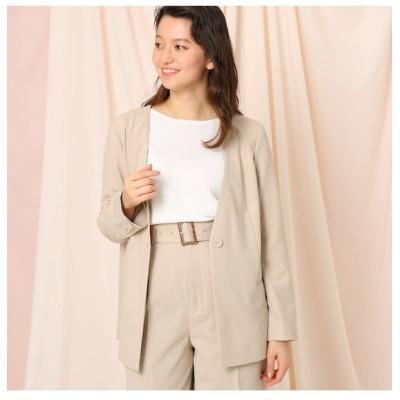 【クチュール ブローチ/Couture brooch】 【セットアップ可】リネンライクノーカラージャケット