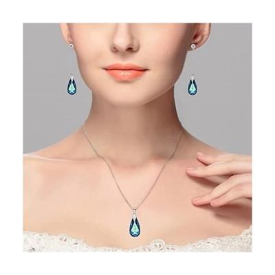 エレクイーンEleQueen シルバー925 純銀製 雫 ブルー ピアス ネックレス スワロフスキークリスタルの使用並行輸入品