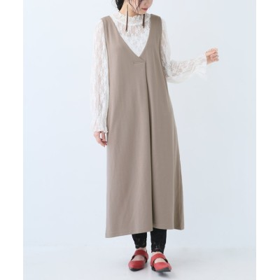 【オシャレウォーカー】 『Vネックジャンパースカート』 レディース モカ 2(LL~3L) osharewalker