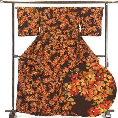 リサイクル着物 小紋 正絹茶色地花柄袷小紋着物未使用品