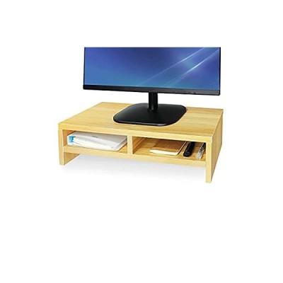 モニタースタンド デスク上置棚 机上台 pc キーボード収納 木製モニター台 机上 人間工学デザイン キーボード収納 二段式 机上整理 PC作業にサポ