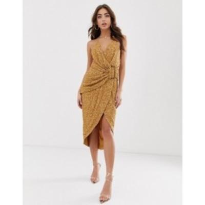 エイソス レディース ワンピース トップス ASOS DESIGN all over sequin drape midi dress with horn buckle Bronze