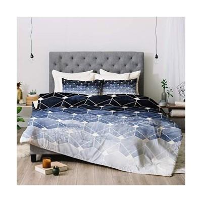 Deny Designs エリザベス・フレドリクソン ブルーヘキサゴンとダイヤモンド掛け布団セット 枕カバー付き フル/クイーン