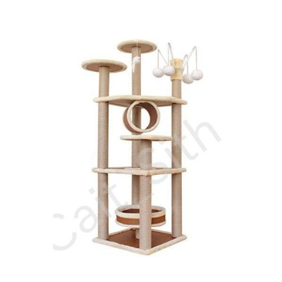 N / A Cat Trees and Towers Scratching Post Kitten Indoor Activity Centre, Multi-Level Viewing Platform House with Pet Toys Balls, Tunnel Cav