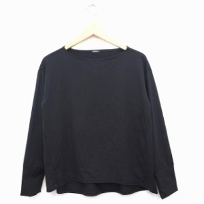 【中古】MERION Tシャツ カットソー 無地 ロングテール 丸首 長袖 7 ブラック 黒 /MT20 レディース