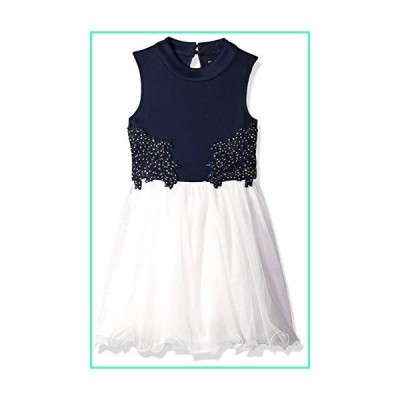 My Michelle Girls' Big Sleeveless Party Dress with Crochet and Tulle, Navy/Ivory, 10並行輸入品