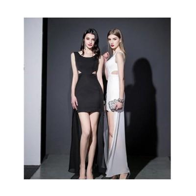 Sexyサイドフロンと魅せStyLe胸元クロスデザイン前ミニINロングドレス