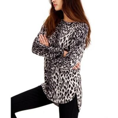 アイエヌシーインターナショナルコンセプト レディース ニット&セーター アウター INC Petite Leopard-Print Shirttail-Hem Tunic Sweate