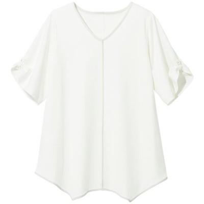【ぽっちゃりさんサイズ】袖デザインTシャツ/オフホワイト/LL
