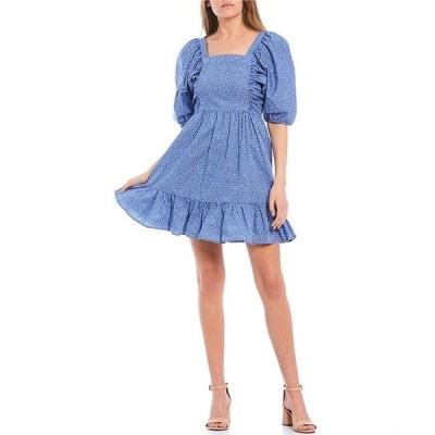 ジービー レディース ワンピース トップス Dotted Square Neck Poplin Dress