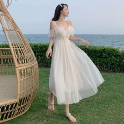 ドレス ワンピース パーティードレス 結婚式 大きいサイズ ロング丈 チュール キャミワンピ ハイウエスト リゾート 透け感 ホワイト フリ