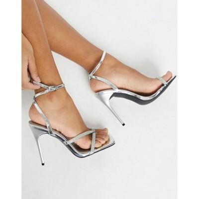トリュフコレクション Truffle Collection レディース サンダル・ミュール スクエアトゥ Square Toe Embellished Strappy Heeled Sandals In Silver シルバー