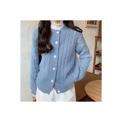 【送料無料】冬 韓国風 丸襟 ツイスト ニットカーディガン ジャケット 単一色 何で | 346770_A64169-0609647