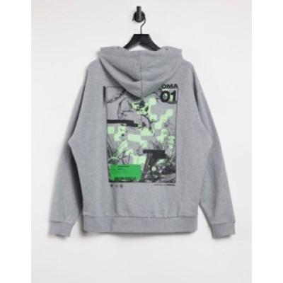 エイソス メンズ パーカー・スウェット アウター ASOS DESIGN oversized hoodie with large cherub back print Gray heather