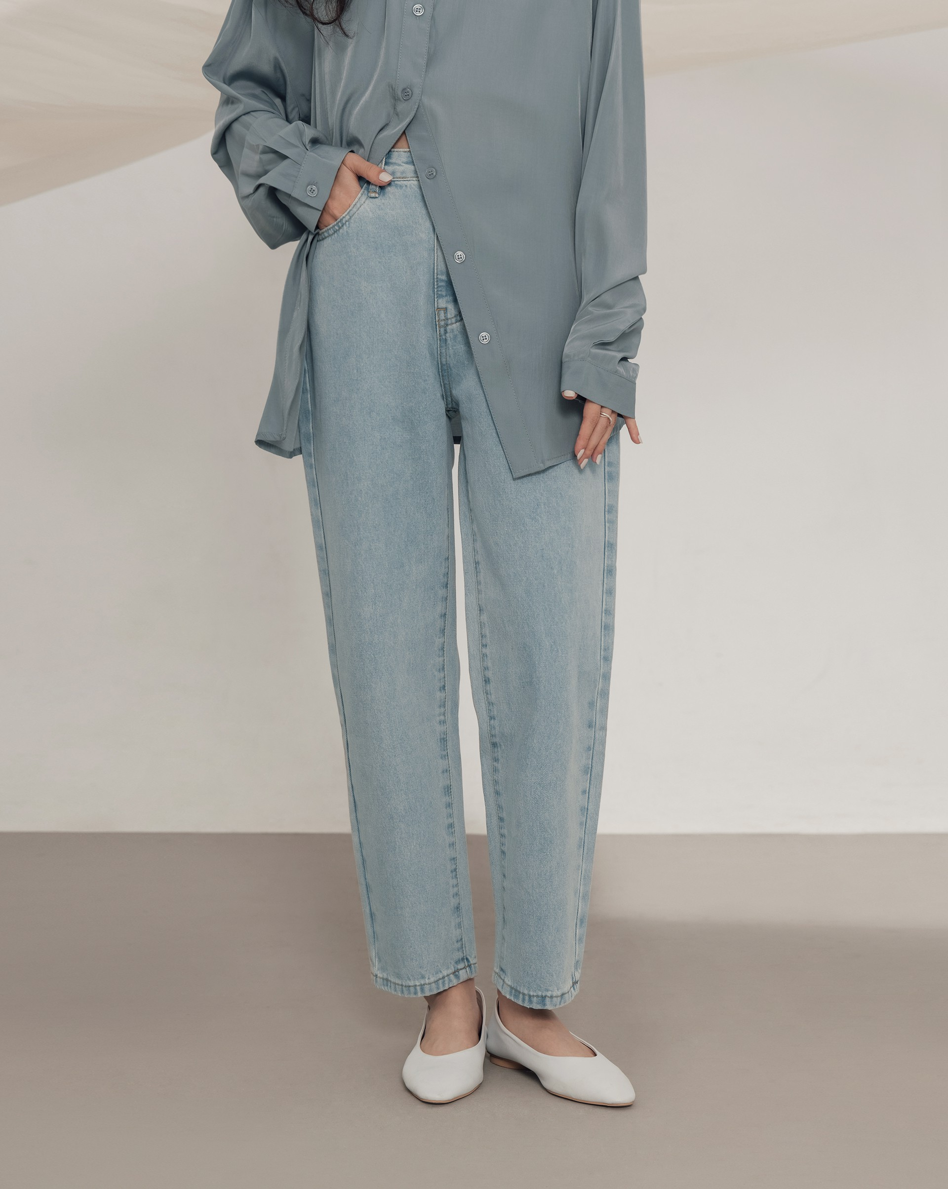 復古淺藍微繭型牛仔褲-Meierq