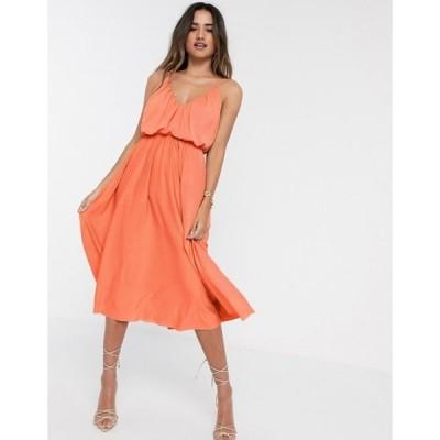 エイソス レディース ワンピース トップス ASOS DESIGN cami plunge midi dress with blouson top in coral