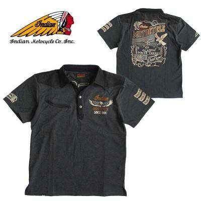 Indian Motocycle/インディアン モトサイクル 半袖ポロシャツ メンズ