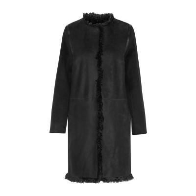 YVES SALOMON コート ブラック 40 羊革(ラムスキン) 100% / ウール / カシミヤ コート
