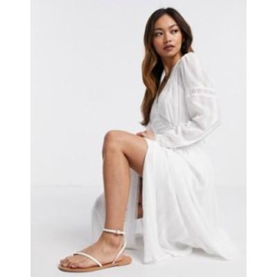 エイソス レディース ワンピース トップス ASOS DESIGN lace insert wrap maxi dress in white White
