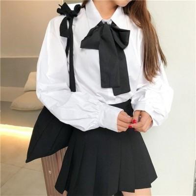 ワイシャツ長袖トップスオシャレ上品通学シャツリボンゆったり着痩せシャツ2019風春秋