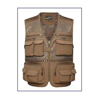 Gihuo Men's Summer Outdoor Work Safari Fishing Travel Vest With Pockets (XX-Large, Khaki-mesh)