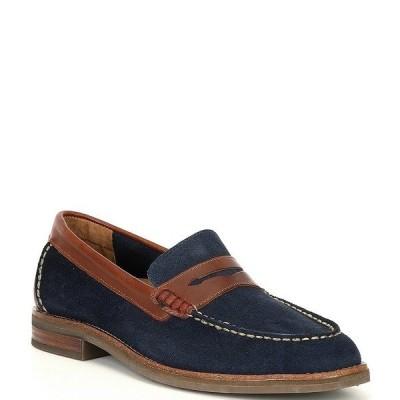 スペリー メンズ スニーカー シューズ Men's Topsfield Suede Leather Penny Loafers Navy/Brown