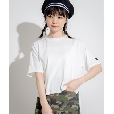 (WEGO/ウィゴー)WEGO/Kappa/別注ミニロゴスリットTシャツ/レディース ホワイト