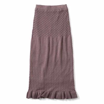 すらっとIライン ニットスカート〈あずき〉 フェリシモ FELISSIMO