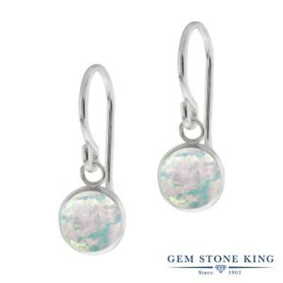 ピアス レディース 1.3カラット シミュレイテッド ホワイトオパール シルバー925(純銀) 一粒 大粒 シンプル ぶら下がり 10月 誕生石 金属