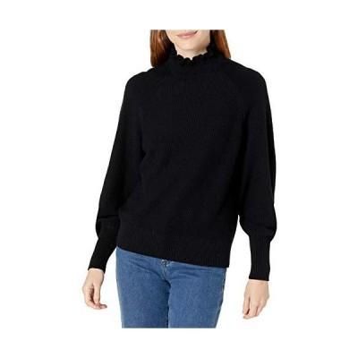 Cable Stitch Women's Bishop Sleeve Mock Neck Sweater Black Small並行輸入品 送料無料