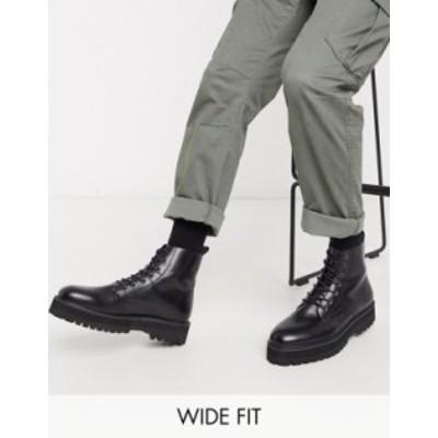 エイソス メンズ ブーツ・レインブーツ シューズ ASOS DESIGN Wide Fit lace up boot in black faux leather with raised chunky sole Bl