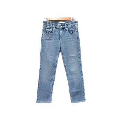 【中古】リーバイス Levi's 712 SLIM パンツ デニム ジーンズ スリム ウォッシュ加工 27 青 ブルー /CT レディース 【ベクトル 古着】