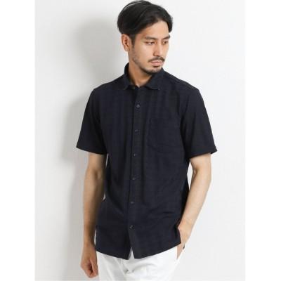 (TAKA-Q/タカキュー)MVSリンクス千鳥 半袖カットシャツ/メンズ ネイビー