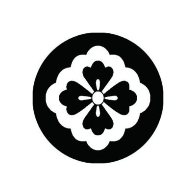 家紋シール 白紋黒地 太陰花菱 布タイプ 直径40mm 6枚セット NS4-2147W