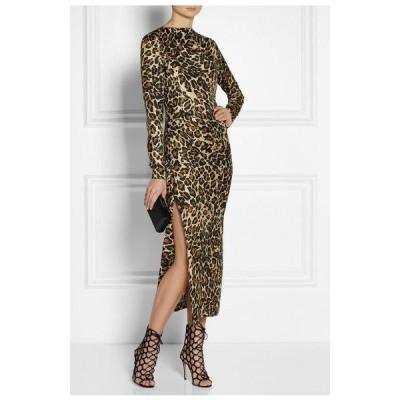 ワンピース タマラメロン Tamara Mellon Leopard Print SMOOTH Silk MIDI Dress Brown Beige Black  2 4