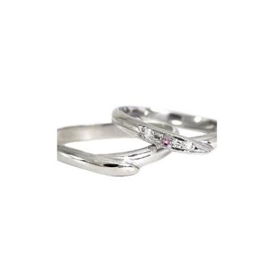 結婚指輪 ペアリング プラチナ マリッジリング ストレート 甲丸 ダイヤ ダイヤモンドS字 刻印 ピンクサファイア 結婚式 ウェーブリング 送料無料