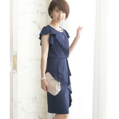 ドレス ミニ丈&袖ありフォーマルアシンメトリー大きいサイズ結婚式ワンピースドレス