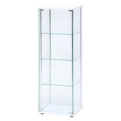 不二貿易 コレクションケース フィギュアケース 4段 高さ120cm ホワイト 全面ガラス ロータイ