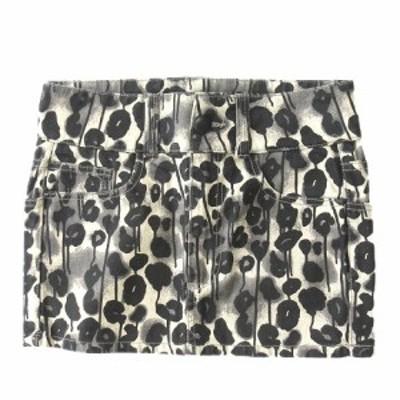 【中古】美品 チープマンデー CHEAP MONDAY 総柄 ミニ タイト スカート サイズXS 白×黒×グレー レディース ♪3