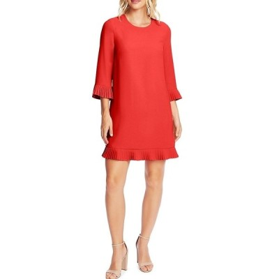 セセ レディース ワンピース トップス 3/4 Sleeve Pleated Trim Crepe Shift Dress Spiced Red