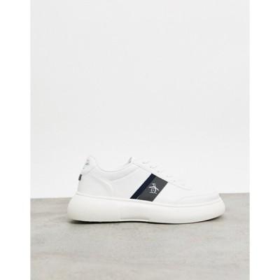 オリジナルペンギン メンズ スニーカー シューズ Original Penguin chunky sole lace up sneakers in white