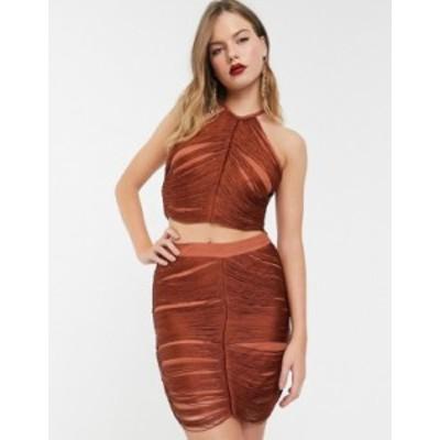 エイソス レディース スカート ボトムス ASOS DESIGN Eivissa all over fringe mini skirt two-piece Rust