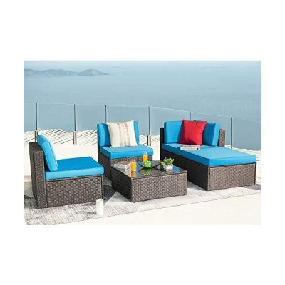 KaiMeng Patio Outdoor Furniture Sets 5 Pieces All Weather Rattan Sectional Sofa Wicker Manual Garden Conversation Set Cushioned with Glass T