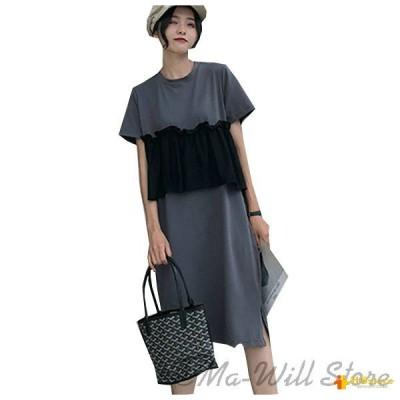 レディース ドレス ワンピース 膝丈 Tシャツ 大きいサイズ ゆったり 可愛い カジュアル